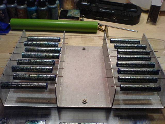 Pens on rack